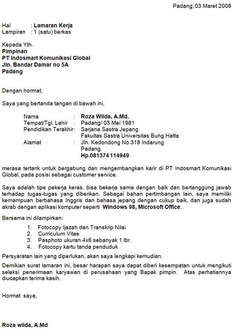 Contoh Cover Lamaran Kerja by Contoh Cover Letter Lamaran Kerja Dalam Bahasa Inggris