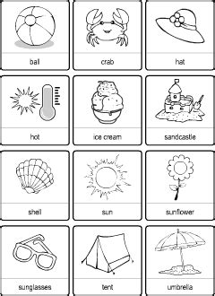 summer vocabulary  kids learning english printable