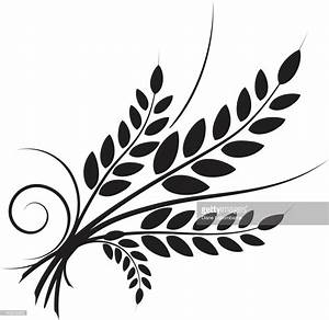 Simple Wheat Icon With Swirl Designs Black Silhouette ...