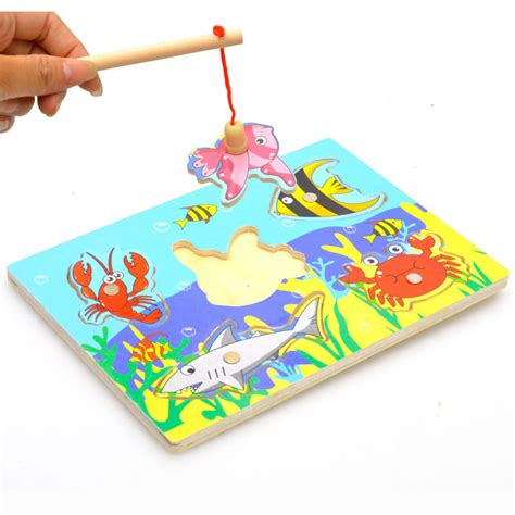 aliexpress buy 2016 new creative wooden magnetic fishing jigsaw puzzle board