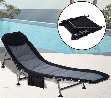 folding recliner lounge chair w side storage