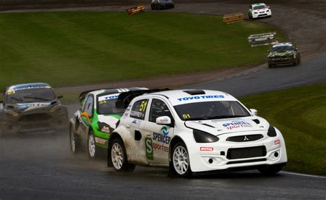 godfrey aims to maintain rallycross chionship lead in spencer sport mitsubishi mirage