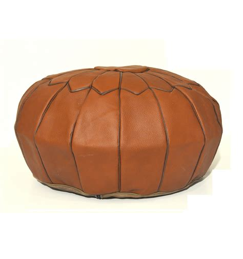 leather pouf  leather ottoman brown