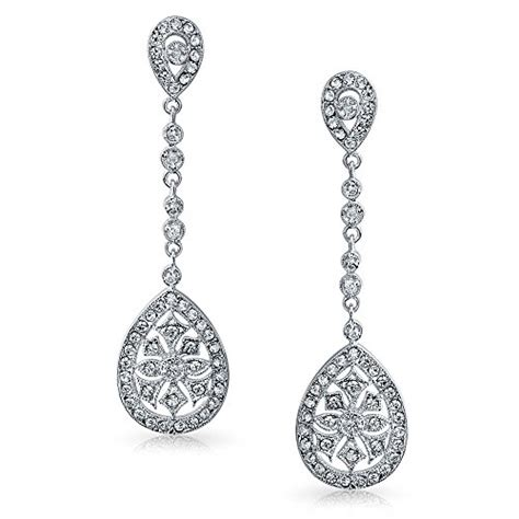 deco fashion jewelry bling jewelry bridal deco style cz teardrop chandelier earrings rhodium plated jewelry