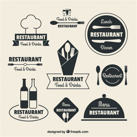restaurant logos in flat design vector free download