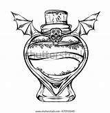 Potion Bottles Halloween Coloring Vector Glass Adults Handmade sketch template