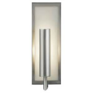 modern sconce wall light with white glass in brushed steel