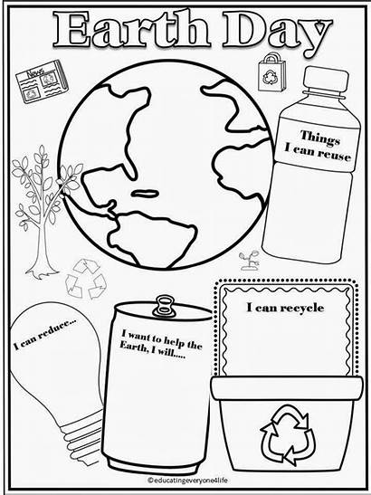 Earth Activity Recycling Coloring Worksheets Pages Math