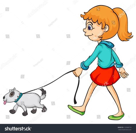 Illustration Of A Smiling Girl And Dog On A White ...