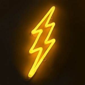 Wall Lamp Lightning Neon Yellow Dimmable with Remote