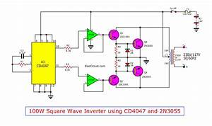 2sc1061 2n3055  Lm358 Cd4047 100w Square Wave Inverter