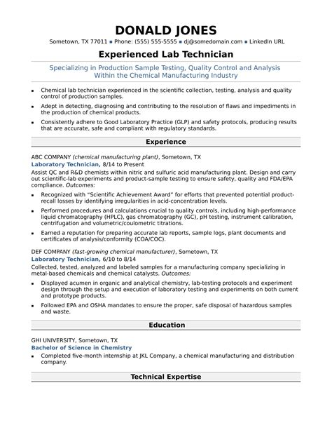 Lab Technician Resume by Midlevel Lab Technician Resume Sle