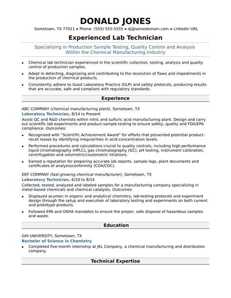 midlevel lab technician resume sle