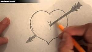 How to draw a heart with a arrow through it - YouTube
