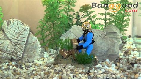 small gold salvage diver action air aquarium decoration