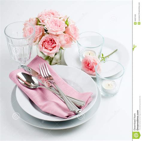 luxurious table setting  pink roses royalty  stock