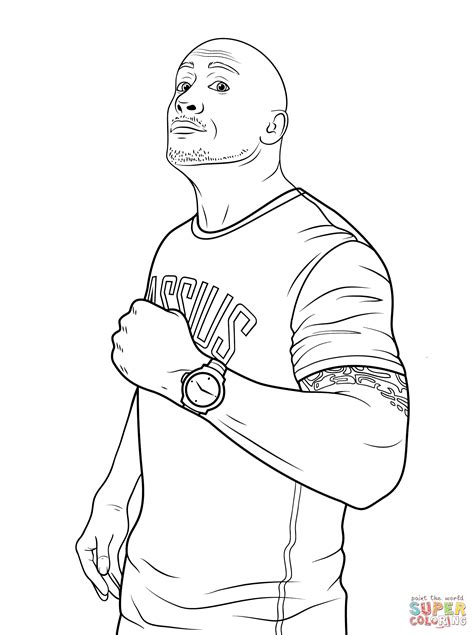 WWE Rock Johnson Coloring Page