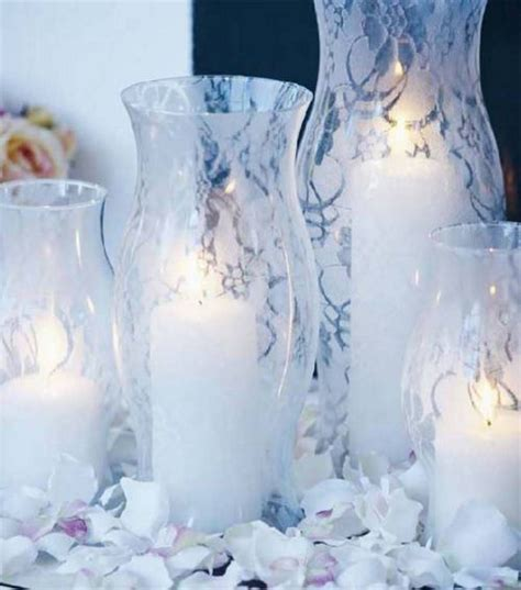 Spray Paint Over Lace For Centerpiece Vases Party Decor