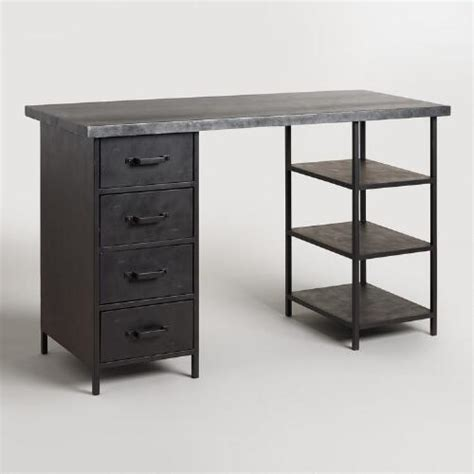 Metal Top Craft Height Colton Mix & Match Desk With Shelf