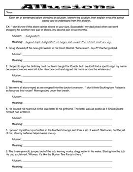 Allusions Practice Worksheet By Jennifer Szymanski Tpt