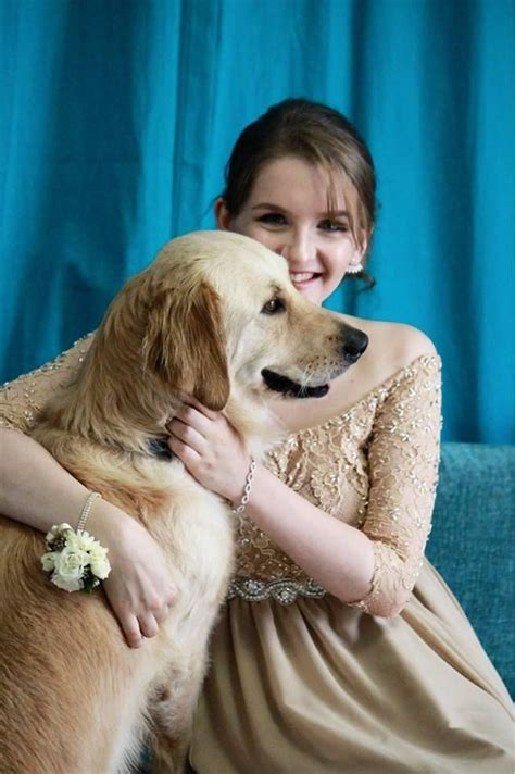 Girl And Her Stylish Service Dog Wear Matching Dresses For