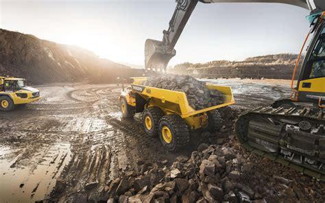 wallpapers volvo ah  heavy duty dump truck loading  stones quarry