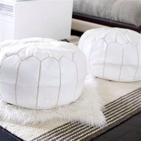white pouf ottoman white leather moroccan pouf cush co australia