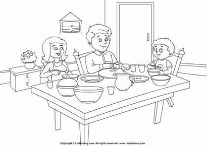 Coloring Dining Pages Living Worksheets Kindergarten Bedroom