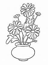 Daisy Coloring Flowers Vase Flower Printable Recommended Mycoloring Colors sketch template