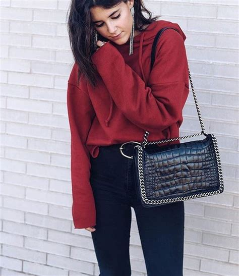 Top tumblr red top hoodie bag black bag chain bag denim jeans black jeans athleisure ...