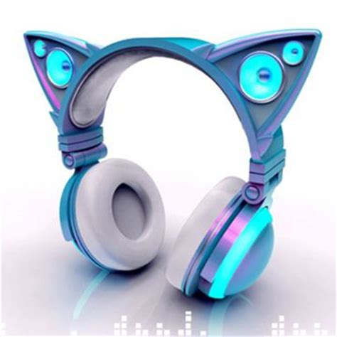 headphones with light up cat ears cat ear shaped headphones glow in bright led lights mind