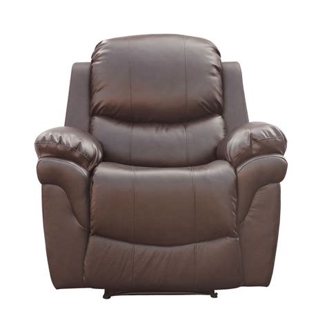 reclining lounge chair brown real leather recliner armchair sofa home