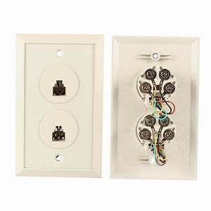 Dual Jacks Rj11 6p4c Phone Telephone Modular Wall Plate