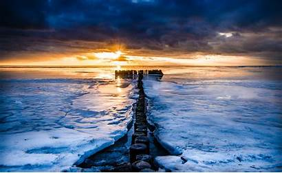 Winter Ocean Sea Sunrise Sunset Nature Ice