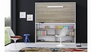 Lit Avec Tv Escamotable : lit escamotable et bureau int gr aventino coloris aux choix finitions bois ~ Nature-et-papiers.com Idées de Décoration