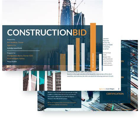 contractor bid bid template free sle
