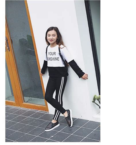 autumn teen girls pants letter printed stripe black