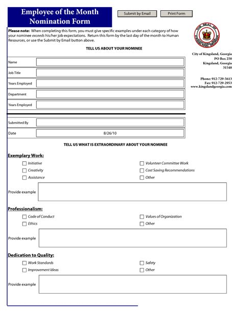 employee   month nomination template  employee