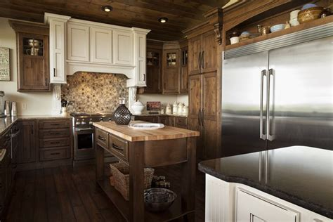 acacia floors with alder cabinets     cabinets and dark