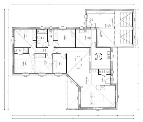 plan maison moderne 140m2