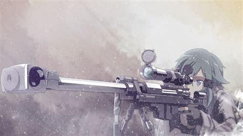 Anime Sniper Wallpaper - sword asada shino sniper rifle snow gun