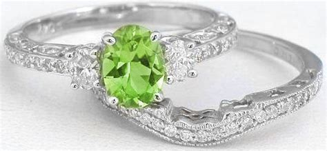 Vintage Inspired Peridot And Oval Diamond Engagement Ring And Wedding Band In 14k White Gold (gr