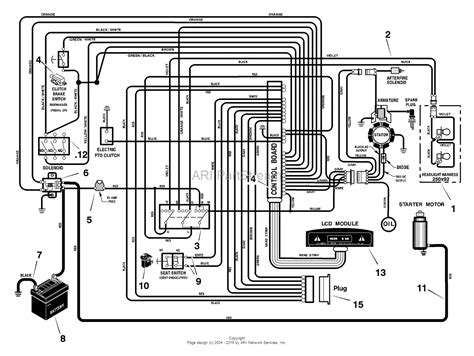 murray 468600x43a lawn tractor 2004 parts diagram for electrical system