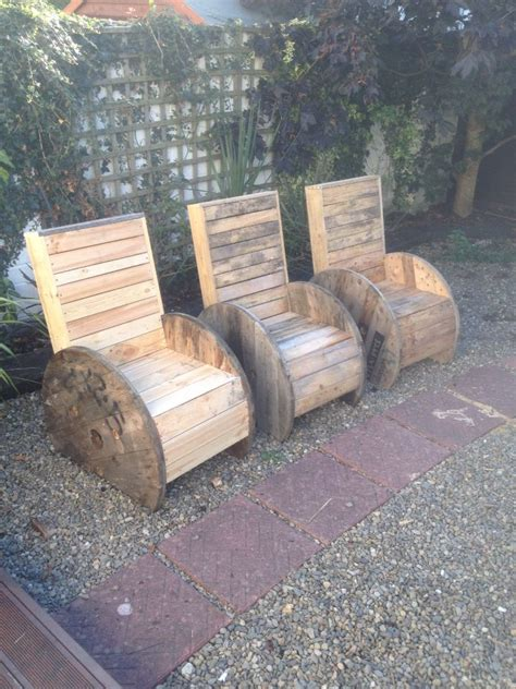 garden chairs   electrical spools  recycled