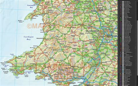 scale british isles county road map   relief