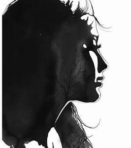 Grey watercolor art. Lonely. Girl. Windy. Sadness. Art ...