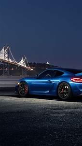 Fonds d'écran Porsche Cayman GT4 voiture bleu nuit