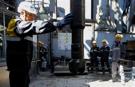 An Employee Works On A Drilling Rig At The Rosneft Owned