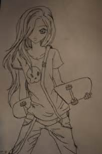 Anime Skater Girl Drawing Sketch