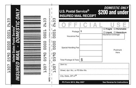 shows form 3813 insured mail receipt